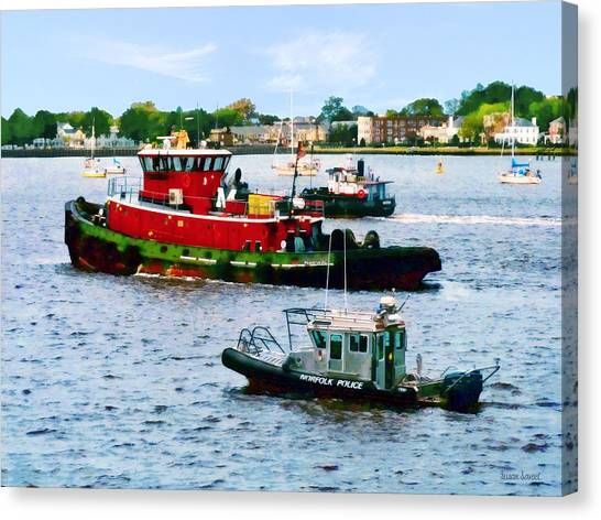 Norfolk Va - Police Boat And Two Tugboats Canvas Print