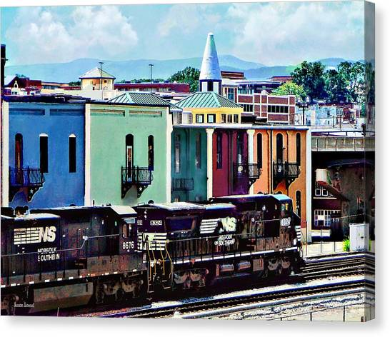 Norfolk Va - Train With Two Locomotives Canvas Print