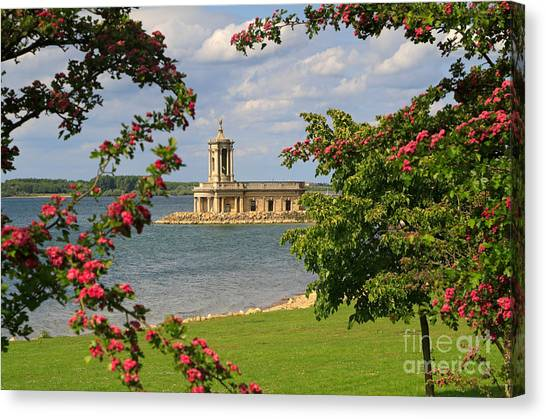 Rutland Canvas Print - Normanton Church Rutland Water In Late Spring by Louise Heusinkveld