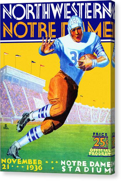 Running Backs Canvas Print - Notre Dame Versus Northwestern 1930 Program by John Farr