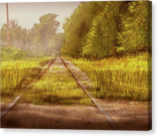 Canvas Print featuring the digital art South-bound Tracks by Barry Jones