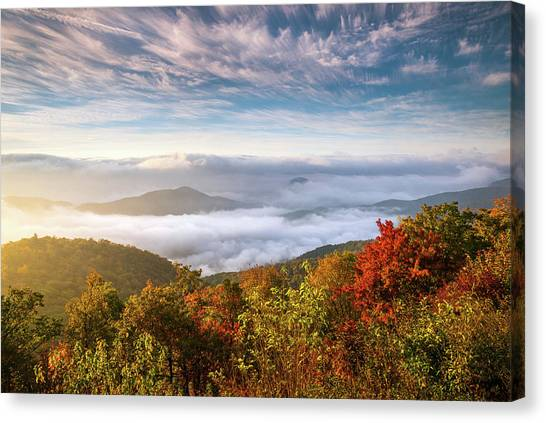Pisgah National Forest Canvas Print - North Carolina Autumn Sunrise Blue Ridge Parkway Fall Foliage Nc Mountains by Dave Allen
