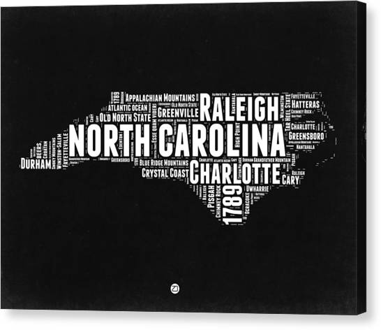 Charlotte Canvas Print - North Carolina Black And White Word Cloud Map by Naxart Studio