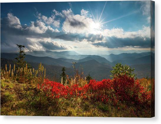 Blue Ridge Parkway Canvas Print - North Carolina Blue Ridge Parkway Scenic Landscape In Autumn by Dave Allen