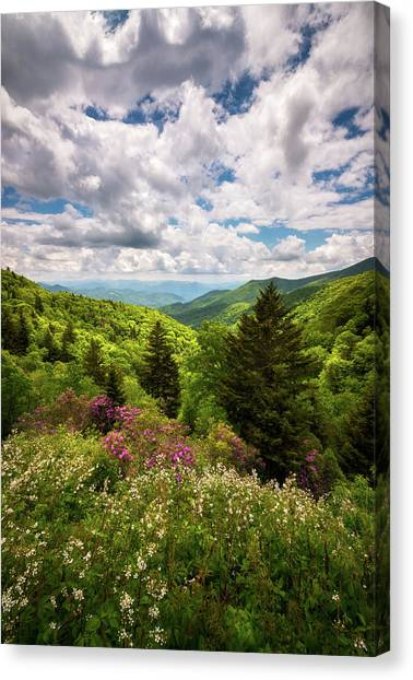 Blue Ridge Parkway Canvas Print - North Carolina Blue Ridge Parkway Scenic Landscape Nc Appalachian Mountains by Dave Allen