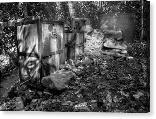North Carolina Moonshine Still In Black And White Canvas Print
