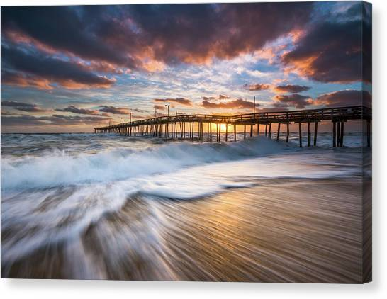 Beach Sunrises Canvas Print - North Carolina Outer Banks Seascape Nags Head Pier Obx Nc by Dave Allen