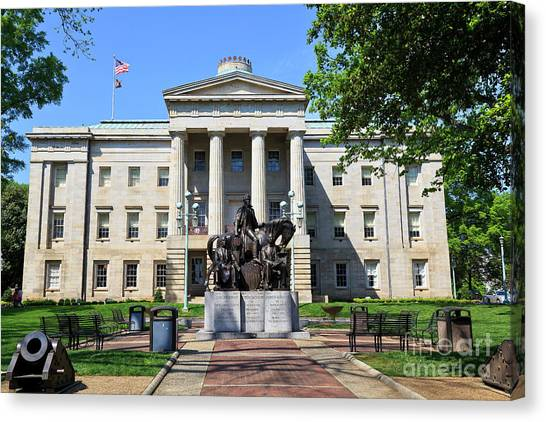 North Carolina State Capitol Building With Statue Canvas Print