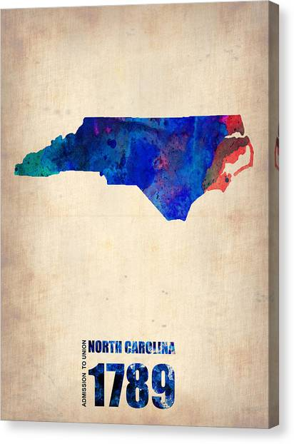 North Carolina Canvas Print - North Carolina Watercolor Map by Naxart Studio