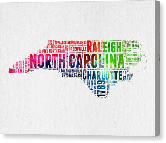 North Carolina Canvas Print - North Carolina Watercolor Word Cloud Map by Naxart Studio