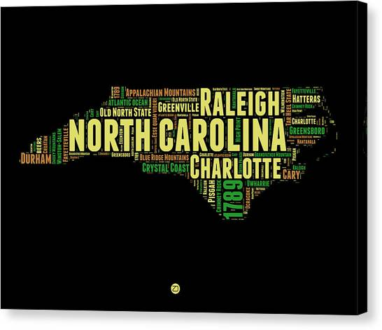 Independence Day Canvas Print - North Carolina Word Cloud Map 1 by Naxart Studio