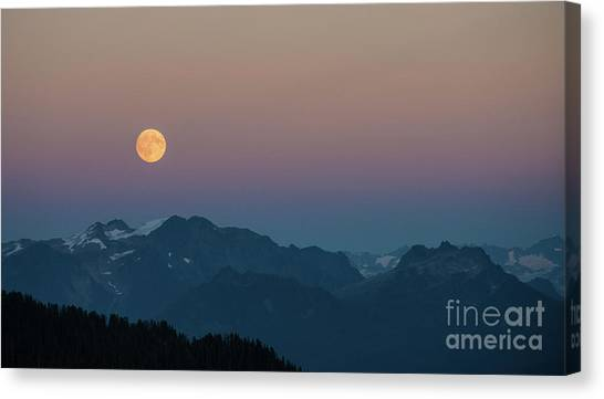 Table Mountain Canvas Print - North Cascades Full Moonrise by Mike Reid