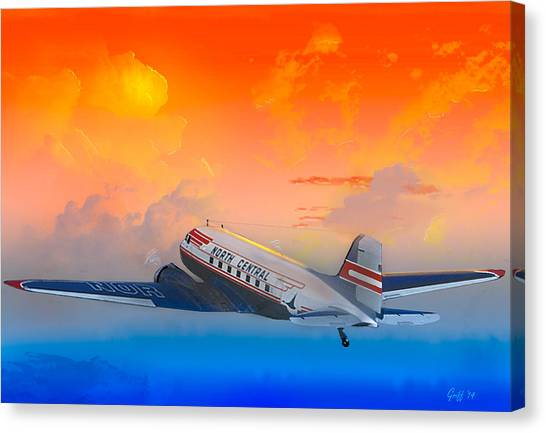 North Central Dc-3 At Sunrise Canvas Print