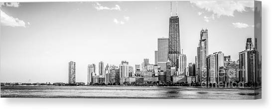 Hancock Building Canvas Print - North Chicago Skyline Panorama In Black And White by Paul Velgos