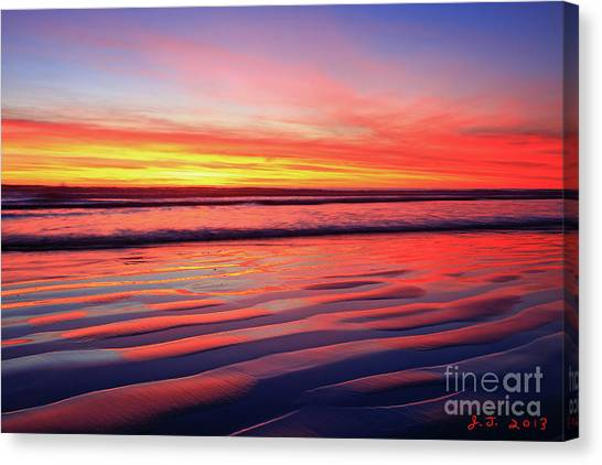 Oceanside Sand Ripples Canvas Print