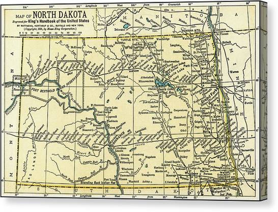 North Dakota Antique Map 1891 Canvas Print