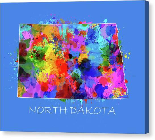 North Dakota Map Canvas Print - North Dakota Color Splatter 3 by Bekim Art