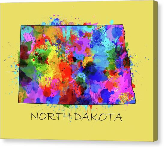 North Dakota Map Canvas Print - North Dakota Color Splatter 4 by Bekim Art