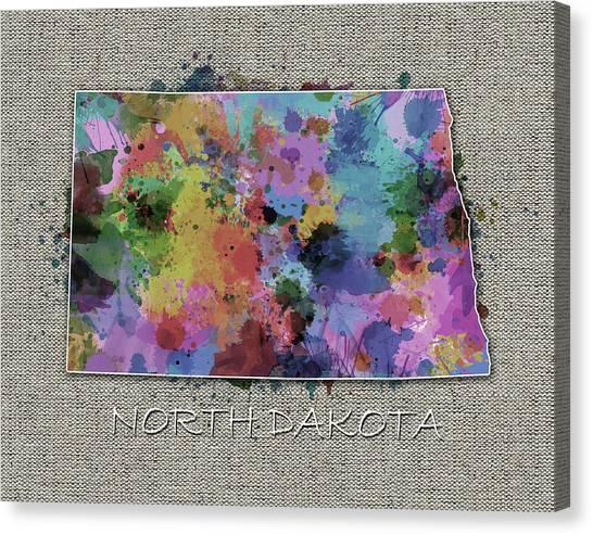 North Dakota Map Canvas Print - North Dakota Color Splatter 5 by Bekim Art