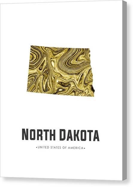 North Dakota Map Canvas Print - North Dakota Map Art Abstract In Golden Brown by Studio Grafiikka
