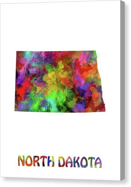 North Dakota Map Canvas Print - North Dakota Map Watercolor by Bekim Art