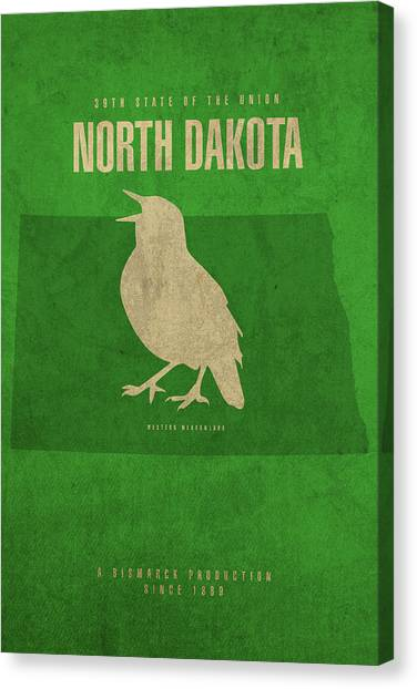 Meadowlarks Canvas Print - North Dakota State Facts Minimalist Movie Poster Art by Design Turnpike