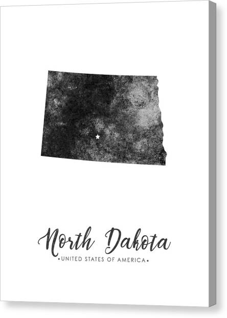 North Dakota Map Canvas Print - North Dakota State Map Art - Grunge Silhouette by Studio Grafiikka
