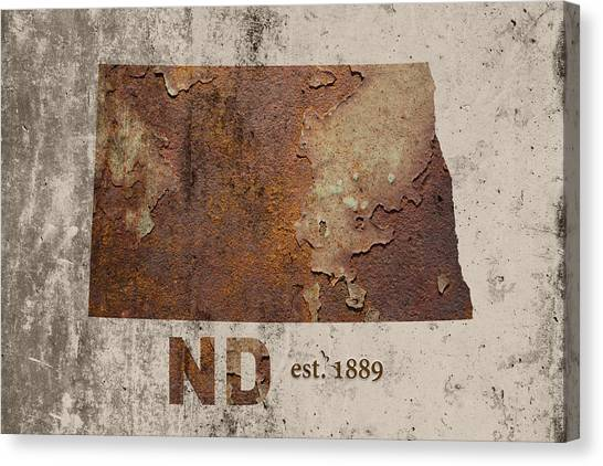 North Dakota Canvas Print - North Dakota State Map Industrial Rusted Metal On Cement Wall With Founding Date Series 025 by Design Turnpike