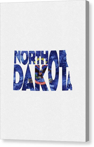 North Dakota Map Canvas Print - North Dakota Typographic Map Flag by Inspirowl Design