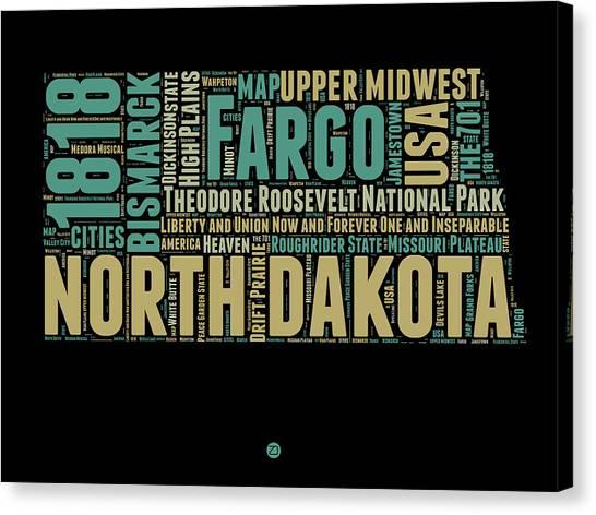 America Map Canvas Print - North Dakota Word Cloud 1 by Naxart Studio