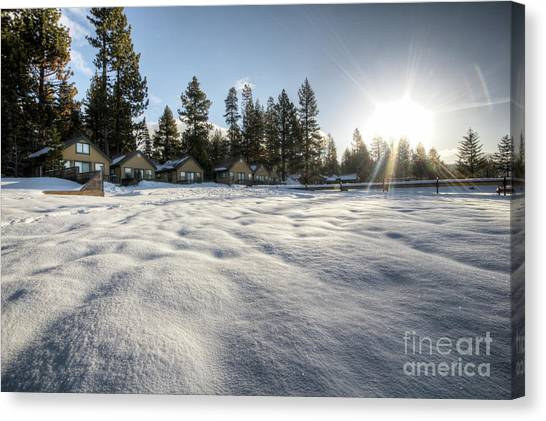 Beach Cabin Canvas Print - North Lake Tahoe Beach Snow by Dustin K Ryan