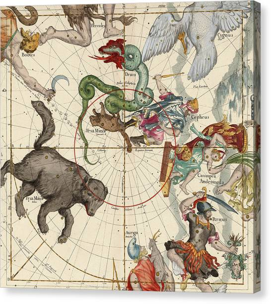 Celestial Canvas Print - North Pole by Ignace-Gaston Pardies