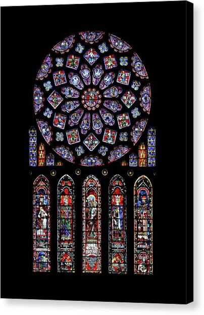 North Rose Window Of Chartres Cathedral Canvas Print