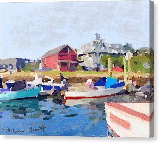 Fishing Boats Canvas Print - North Shore Art Association At Pirates Lane On Reed's Wharf From Beacon Marine Basin by Melissa Abbott