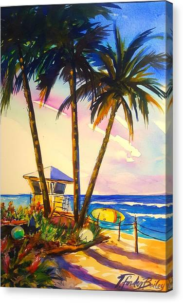 North Shore Lifeguard Hut Canvas Print by Therese Fowler-Bailey