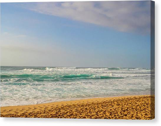 North Shore Waves In The Late Afternoon Sun Canvas Print