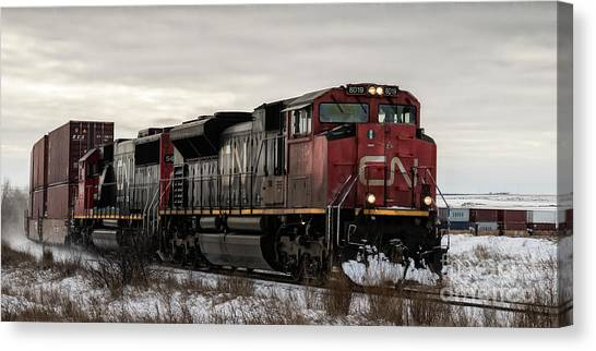 Canvas Print featuring the photograph Northbound Double Stack by Brad Allen Fine Art