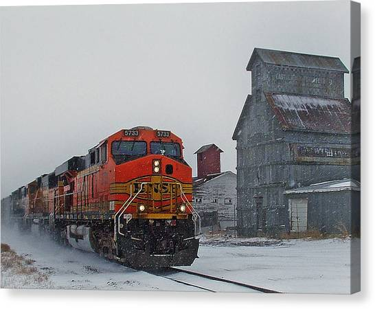 Train Canvas Print - Northbound Winter Coal Drag by Ken Smith