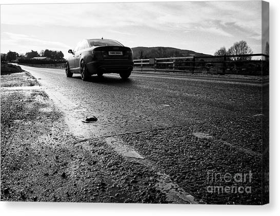 Brexit Canvas Print - northern ireland car traffic crossing the irish border between Northern Ireland and Republic of Irel by Joe Fox