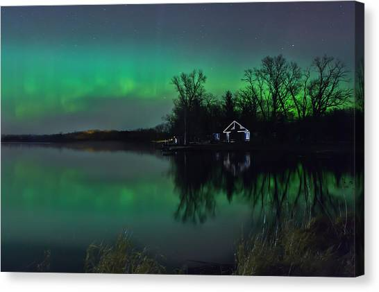 Northern Lights At Gull Lake Canvas Print