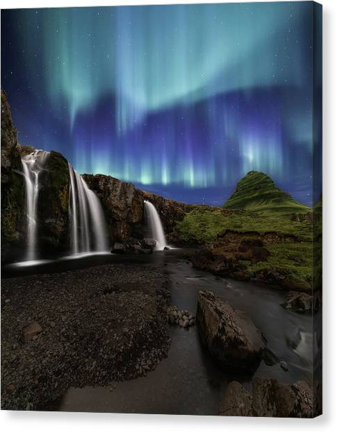 Reindeer Canvas Print - Northern Lights At Kirkjufellsfoss Waterfalls Iceland by Larry Marshall