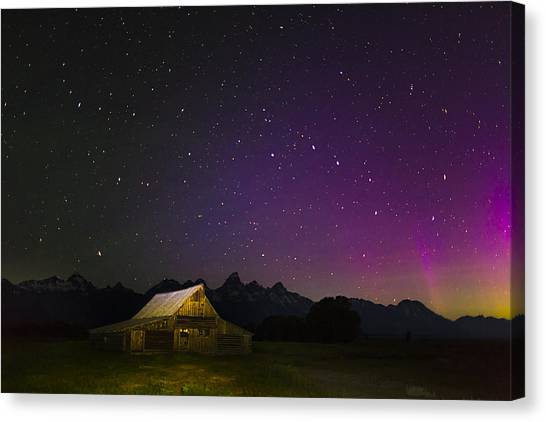 Solar Farms Canvas Print - Northern Lights Over The Tetons by Andrew Soundarajan