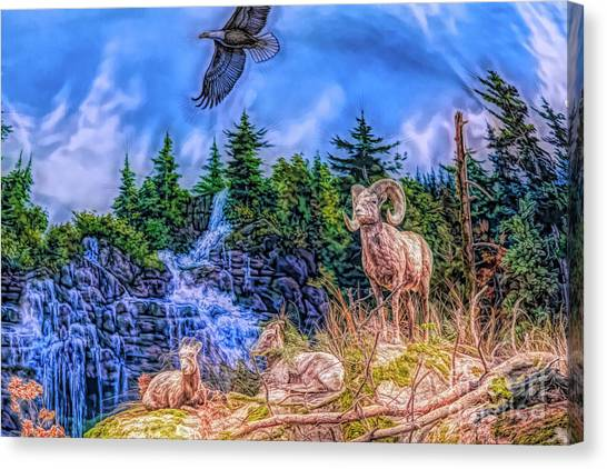 Canvas Print featuring the digital art Northern Wilderness by Ray Shiu