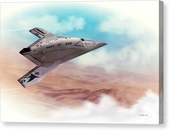 Iraq Canvas Print - Northrop Grumman X47b Drone by John Wills