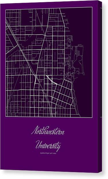 Northwestern University Evanston Campus Map.Campus Map Canvas Prints Fine Art America