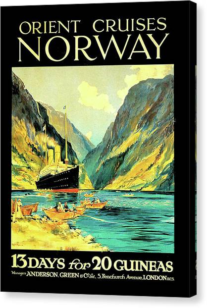 Cruise Ships Canvas Print - Norway Orient Cruises, Vintage Travel Poster by Long Shot