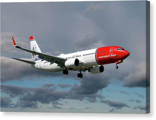 Airlines Canvas Print - Norwegian Boeing 737-8jp by Smart Aviation
