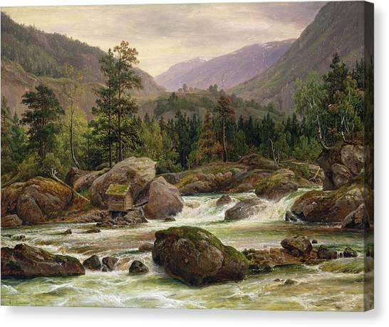 Log Cabin Canvas Print - Norwegian Waterfall by Thomas Fearnley