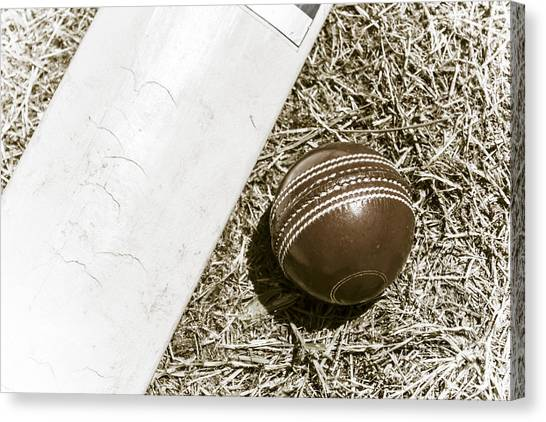 Crickets Canvas Print - Nostalgic Cricket Bat And Ball by Jorgo Photography - Wall Art Gallery
