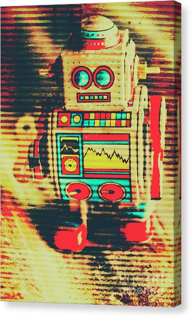 Revival Canvas Print - Nostalgic Tin Sign Robot by Jorgo Photography - Wall Art Gallery